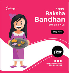 banner design happy raksha bandhan vector image