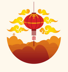 banner with a red chinese lantern and mountains vector image