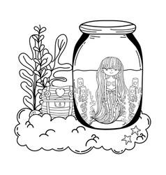 beautiful mermaid in mason jar with seaweed vector image