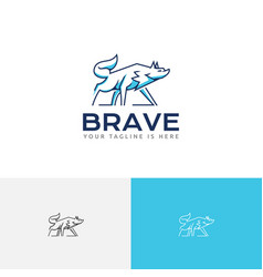 Brave beast alpha wolf wild wildlife logo vector
