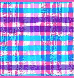 bright colorful plaid pattern with hand drawn vector image