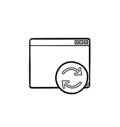browser window with restart button hand drawn vector image