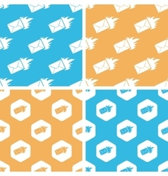 Burning envelope pattern set colored vector