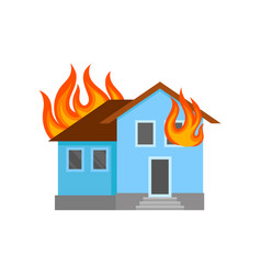 burning house on a white vector image