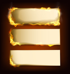 burning papers set with different power of fire vector image