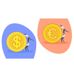business people pushing golden dollar euro coin vector image