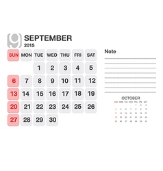 Calendar September 2015 vector image