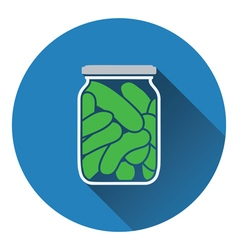 Canned cucumbers icon vector