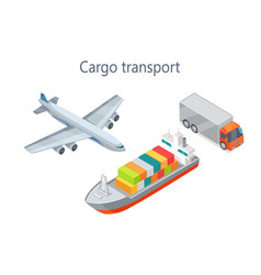 cargo transport isometric infographics elements vector image