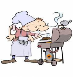 chef grilling burgers vector image
