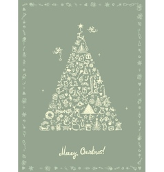 Christmas card sketch drawing for your design vector