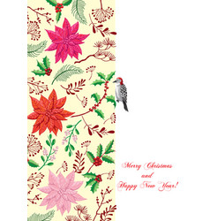 Christmas poster with bird and poinsettia flowers vector