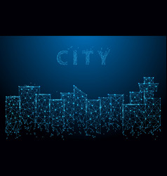 city landscape form lines triangles and particle vector image