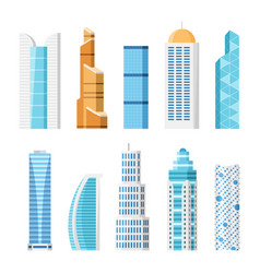 City skyscrapers isolated cartoon set vector