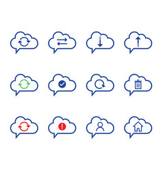 Cloud computing icon set outline icon includes vector