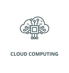 cloud computing line icon cloud computing vector image