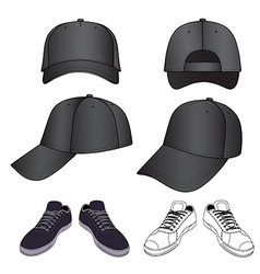 Colored outlined sneakers baseball cap set vector image