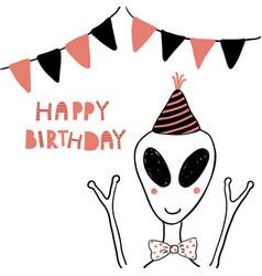 Cute alien birthday card vector