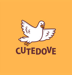 cute dove cartoon logo icon vector image