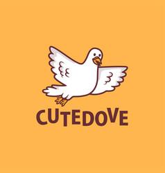 cute dove cartoon logo icon vector image