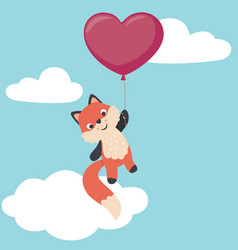 cute little fox flying with heart shaped balloon vector image vector image