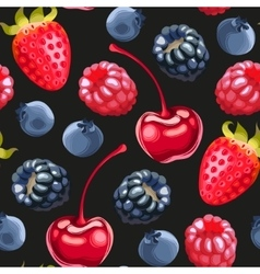Delicious ripe berries seamless vector