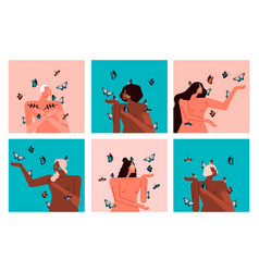 Diverse women character set with butterfly vector