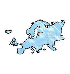 Doodle europe continent geography map design vector