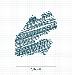 Doodle sketch of Djibouti map vector image