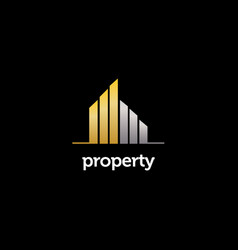 elegant gold silver property realty logo sign vector image