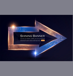elegant shining arrow banner with glitter light vector image