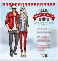 Fashion man and girl vector