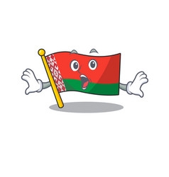 Flag belarus isolated with surprised cartoon vector