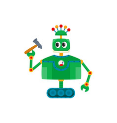 Flat cartoon small funny male male robot vector