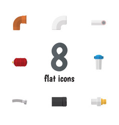 Flat icon industry set of drain water filter vector