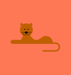Flat icon on background cartoon lioness vector