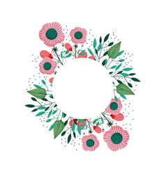floral flowers wreath decoration ornament icon vector image