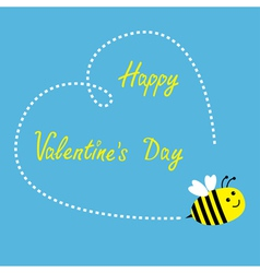 Flying bee Big dash heart in the sky Valentines vector