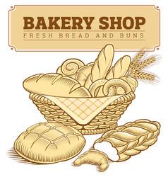fresh bakery foods in basket bread croissant vector image