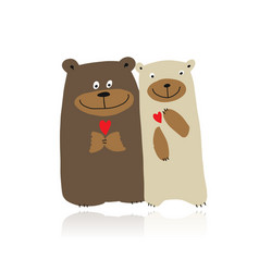 Funny bears family sketch for your design vector