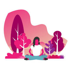 girl sitting in a yoga lotus position meditation vector image