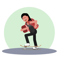 Girl skating with backpack vector