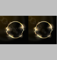 glitched abstract background with gold ring vector image