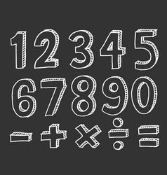 hand drawn numbers doodle numbers for children vector image