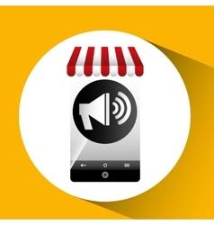 Hand holding e-shopping megaphone design vector