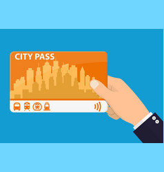 Hand with city pass vector
