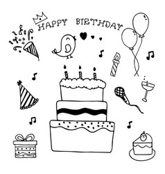 happy birthday hand drawn doodle set vector image