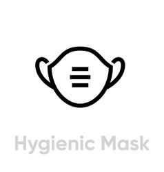 Hygienic mask respirator icon editable line vector