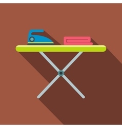 Ironing board with iron flat vector