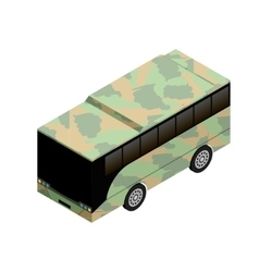 Isometric military bus icon vector